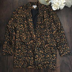 Vintage Carol Horn Silk Leopard Print Blazer